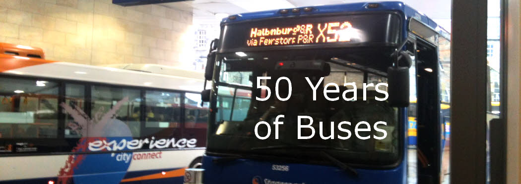 50 Years of buses Dalgety Bay - two coaches Stagecoach at the Edinburgh bus terminus